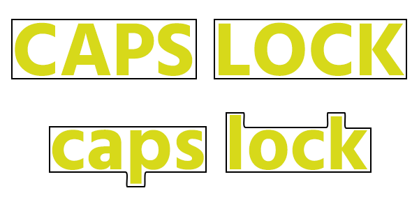 Caps Lock in hoofdletters en kleine letters met vorm er omheen