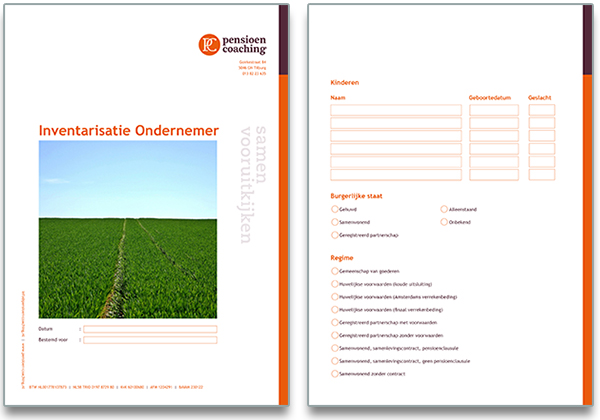 Digitaal formulier Pensioen Coaching gerealiseerd door B-more design uit Tilburg