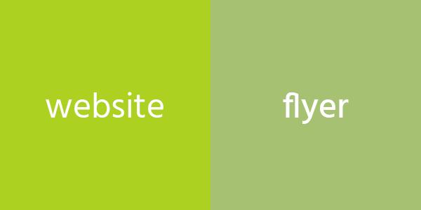 groen op de website en groen op de flyer